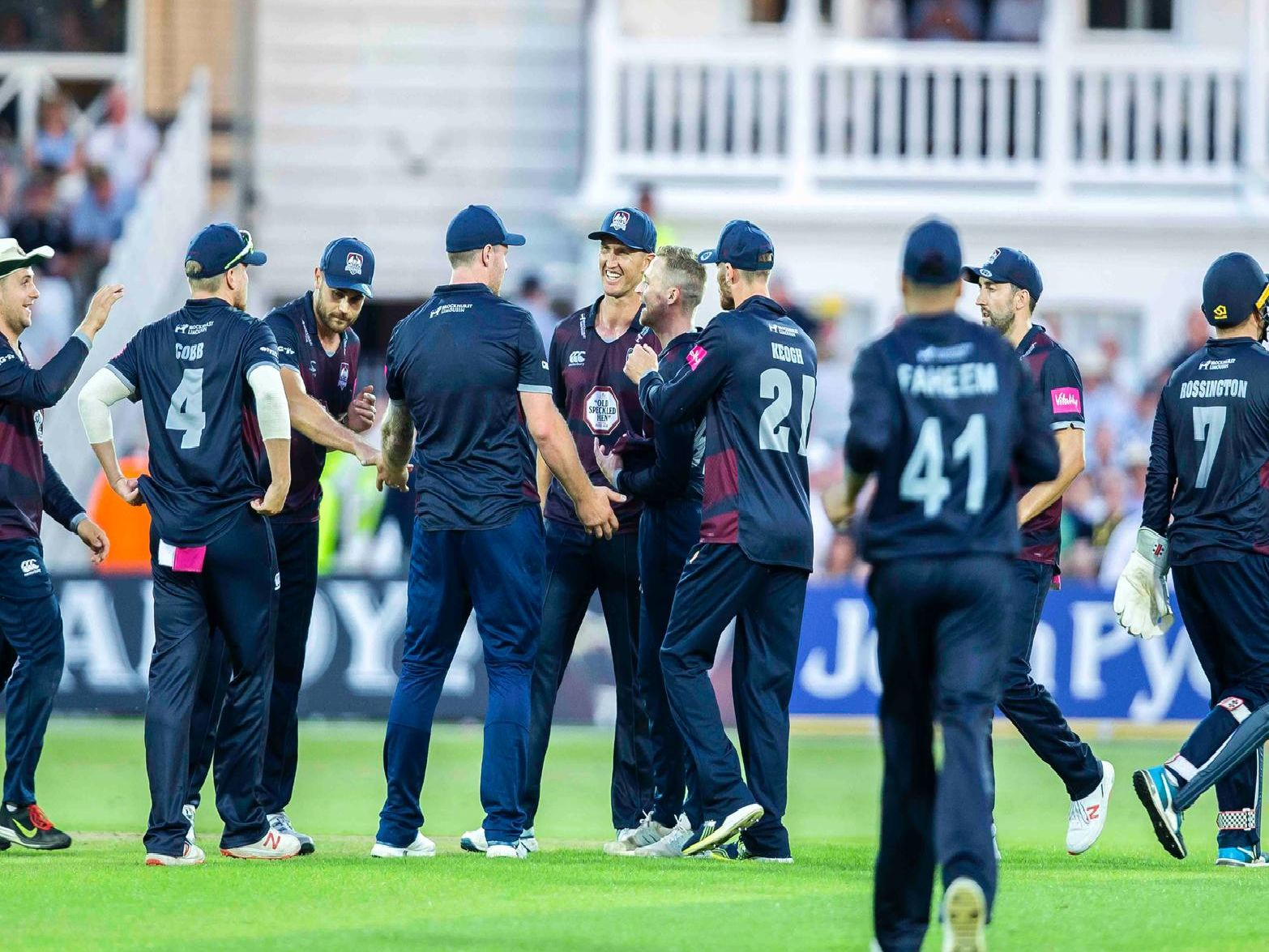 Northants Steelbacks celebrate claiming a wicket in their Vitality Blast T20 defeat at Notts Outlaws