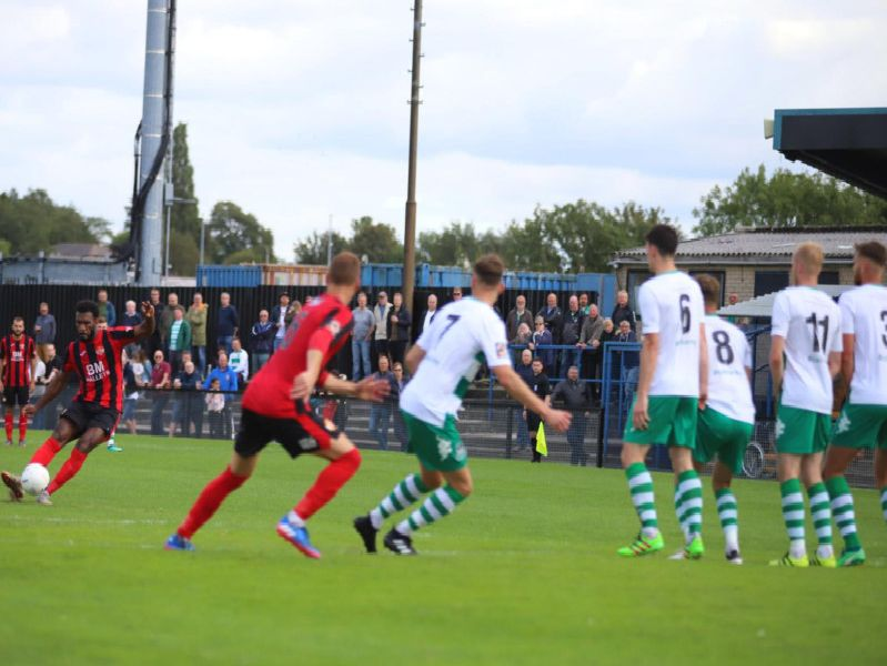 Dan Nti tries his luck with a free-kick for Kettering Town