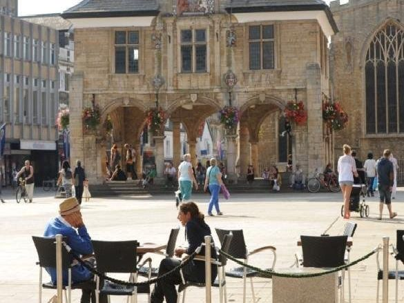 Peterborough's Cathedral Square in the heart of the city