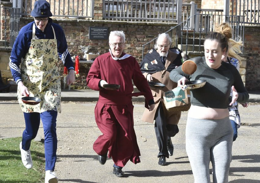 Competitors in the pancake races