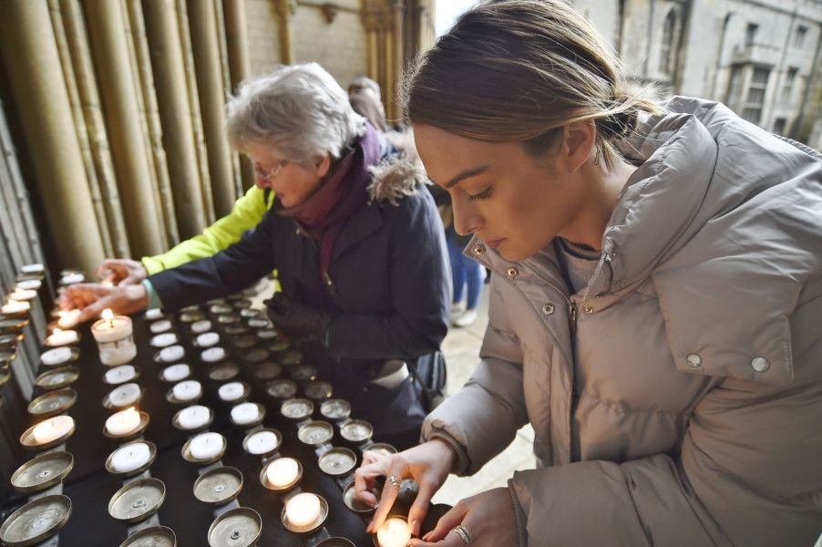 Christchurch vigil at Peterborough Cathedral attending by Mayor of Peterborough Coun. Chris Ash, Mayoress Doreen Roberts, Coun Ansar Ali, The Vicar of Peterborough Revd Canon Ian Black and Tim Alban Jones Peterborough Cathedral Canon in Residence EMN-190325-105434009