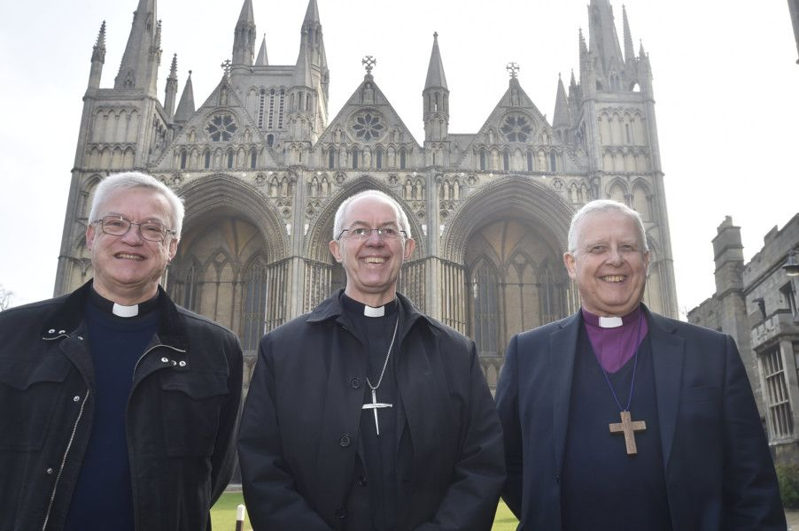 Archbishop of Canterbury Justin Welby visiting Peterborough with Bishop of Peterborough  Rt Revd. Donald Allister, The Vicar of Peterborough Revd Canon Ian Black and Harry Traynor, assistant centre manager , during a tour of Queensgate