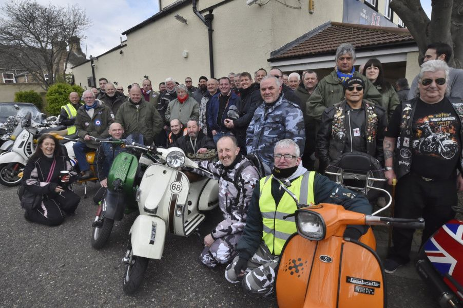Peterborough Lambretta and Vespa Scooter Club Egg Run from Ebeneezers Pub to Sue Ryder. EMN-190413-193601009