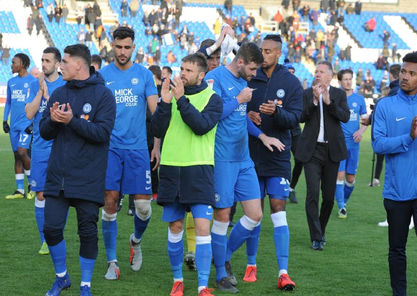 Posh players on their lap of appreciation at the end of the season.