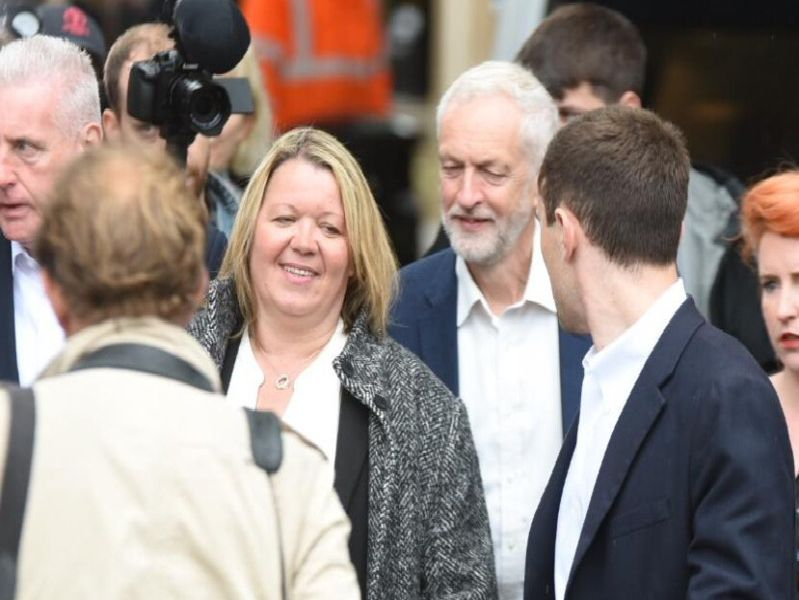 Lisa Forbes and Jeremy Corbyn in Peterborough after the Labour by-election victory