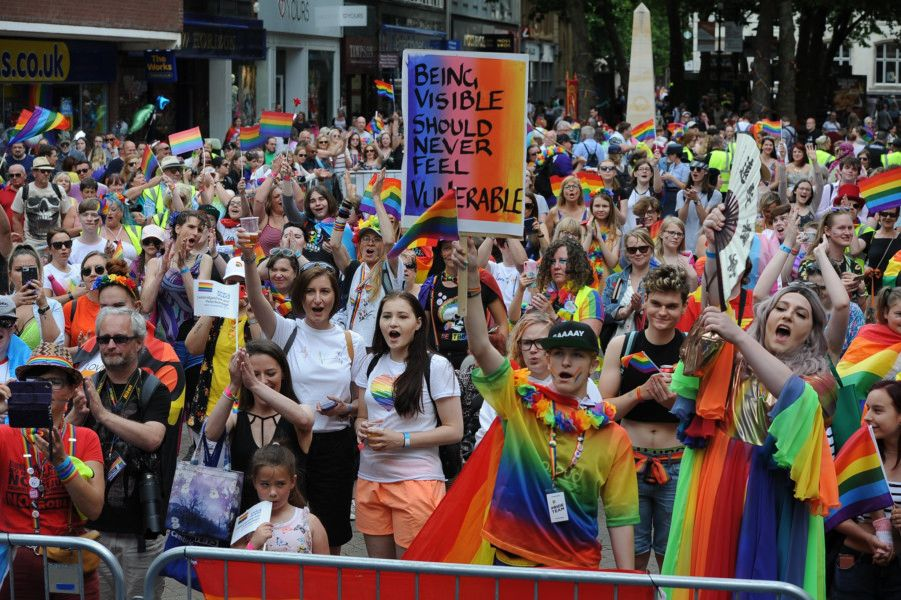 The Peterborough Pride carnival in the city centre