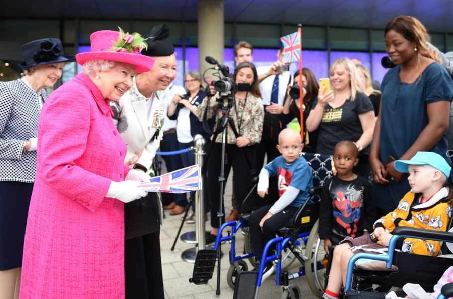 Queen Elizabeth II meets children during a visit to Royal Papworth Hospital. Photo: Joe Giddens/PA Wire