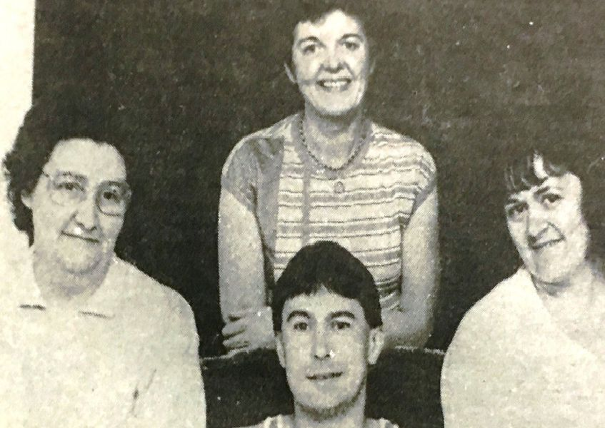 Jimmy Gillespie from Richhiill was presented with an award for winning the Combat Cancer fun run in 1988. He is pictured with with Mrs R Kyle, Mrs E McAdams and Mrs B Brakey of the Armagh-Richhill Combat Cancer group.