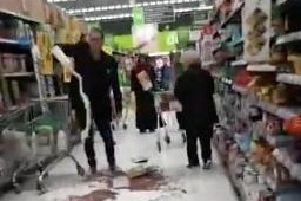 The scene of the protest in Asda