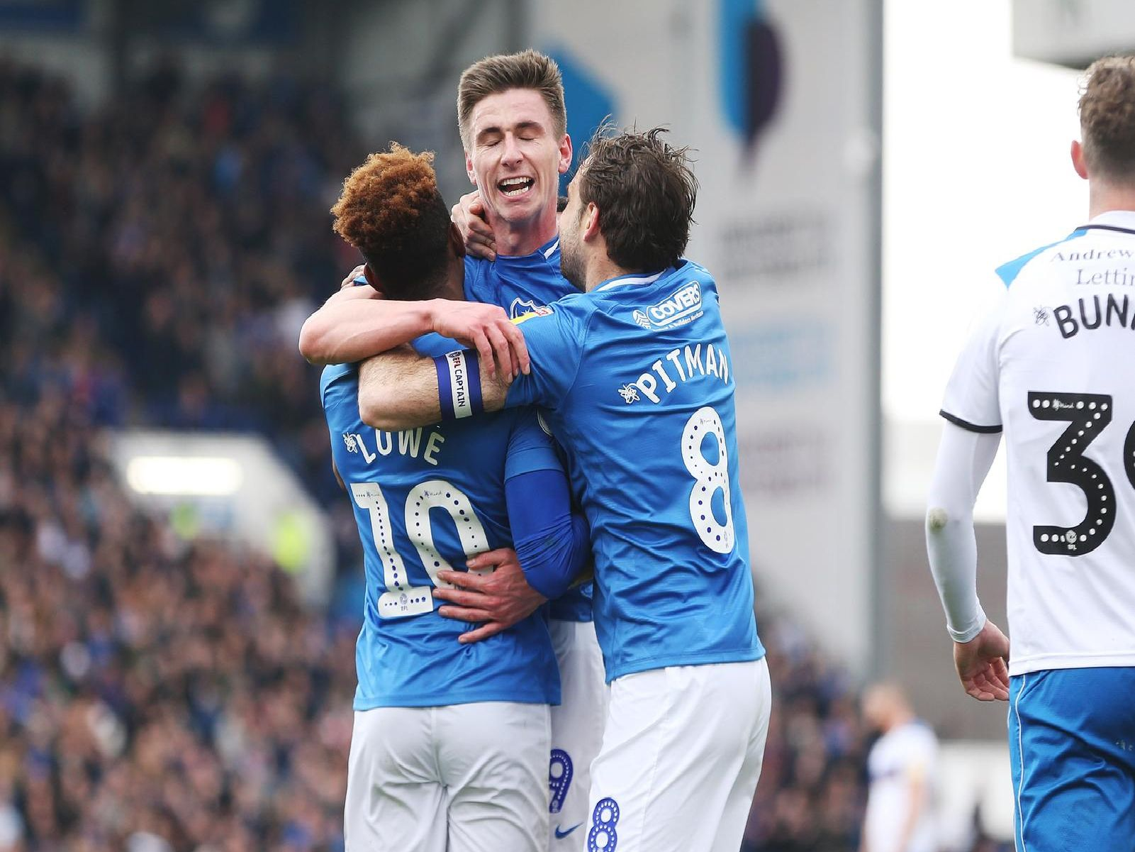 Action from the first half of Pompey's clash against Rochdale at Fratton Park.