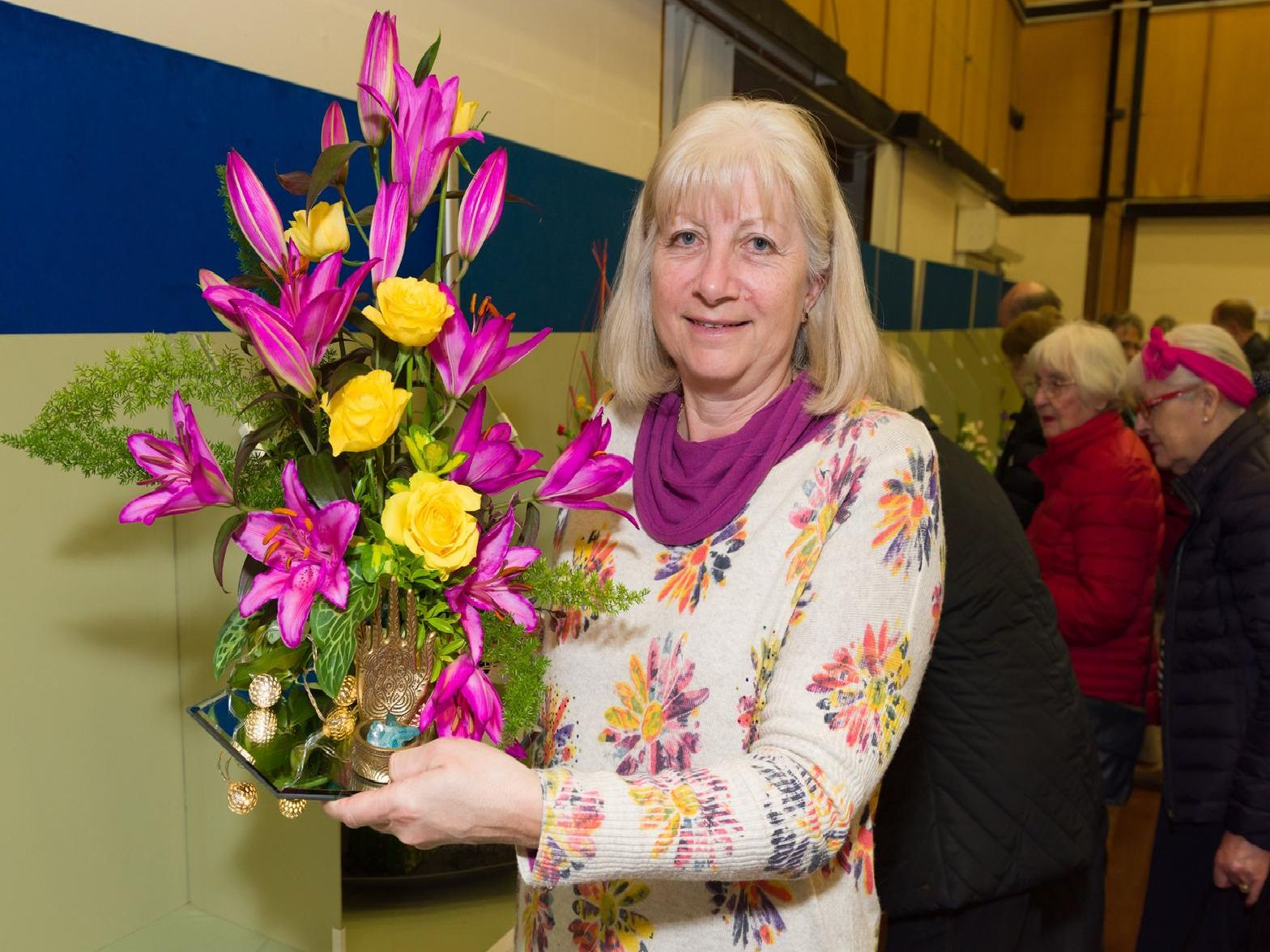 The Hayling Island Horticultural Society has more than 800 numbers and is gearing up to put on its Spring Show for 2019.  Members create floral displays  enjoyed by visitors, and judged by Cllr Peter Wade, Mayor of Havant - Linda Jones, new chairman of Hayling Flower club awarded 1st prize in the 'Eastern Promise' category of the floral art exhibit competition. Picture: Duncan Shepherd
