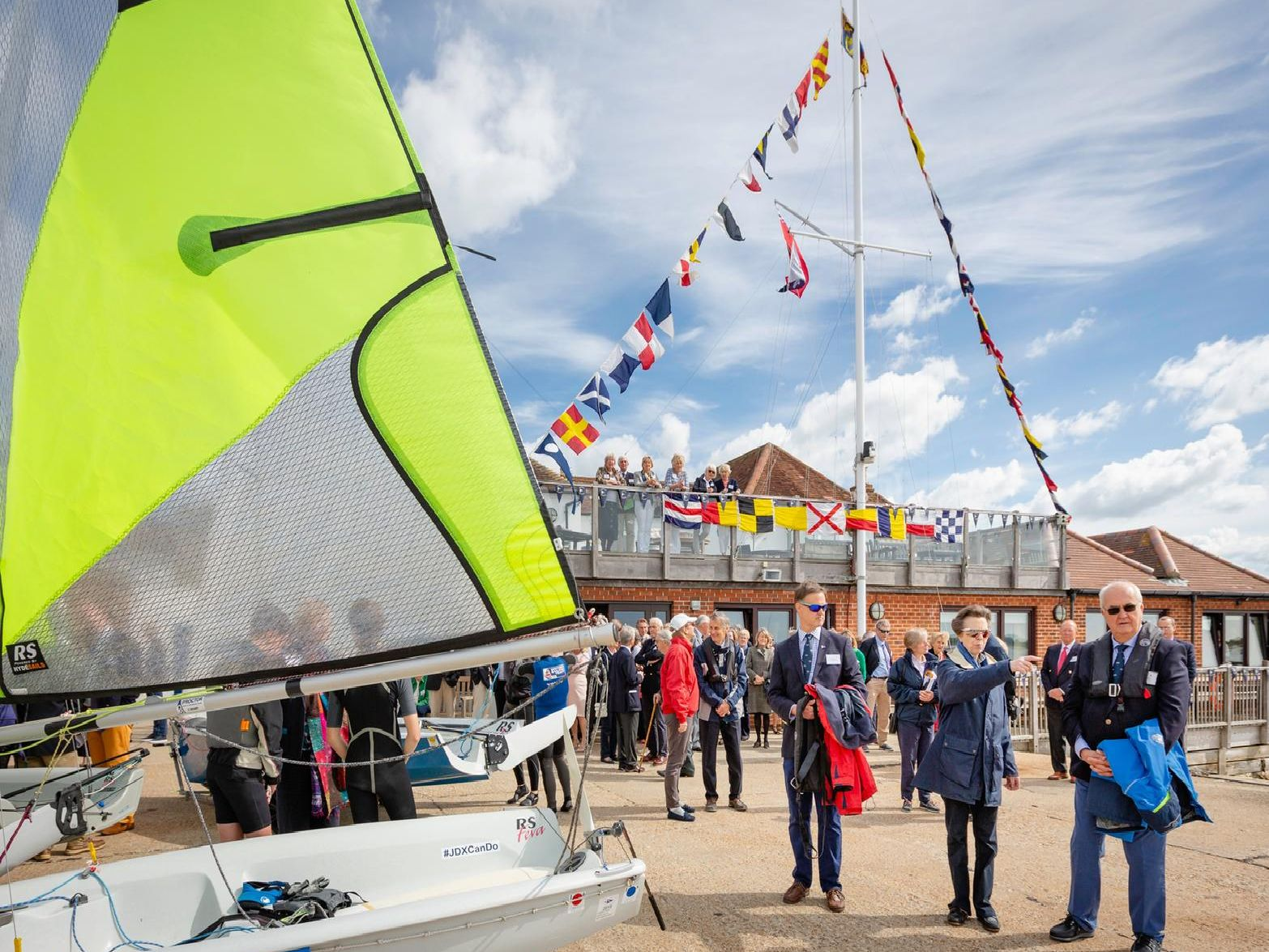 HRH The Princess Royal pictured during her visit to Emsworth Sailing Club today. The visit was arranged to help the club celebrate its centenary.
