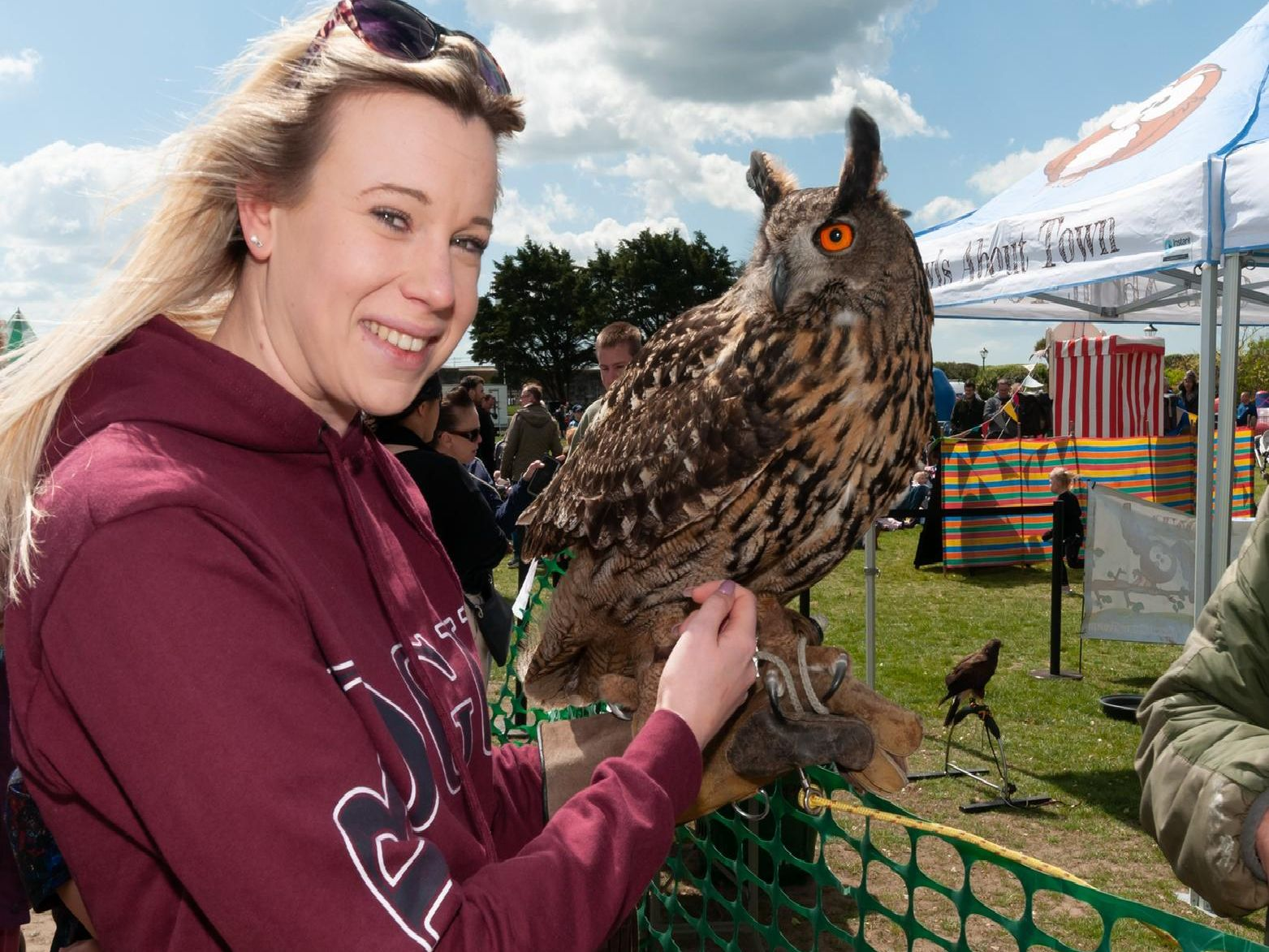 Kate Shillabeer with a European eagle owl. Picture: Duncan Shepherd