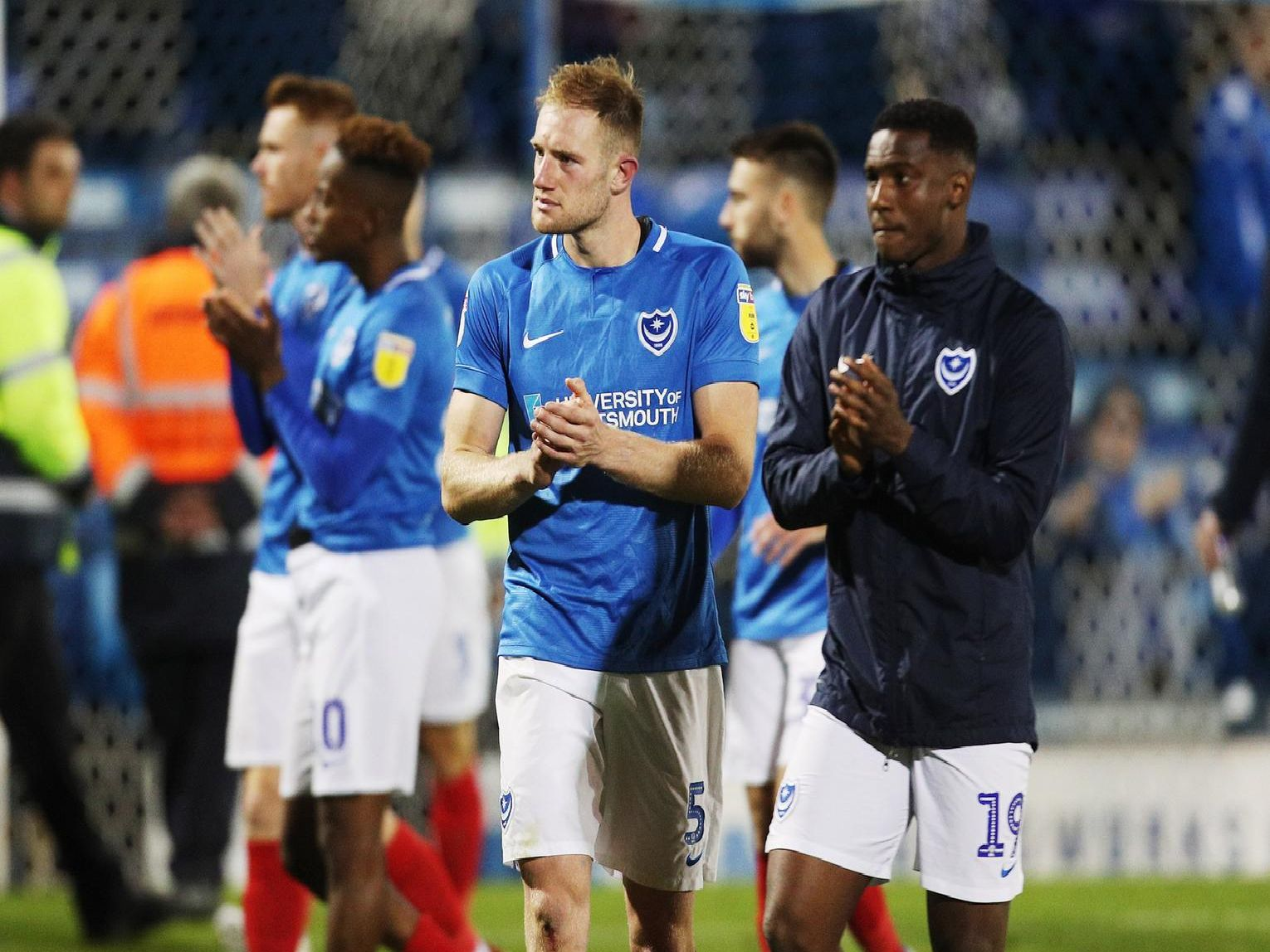 Pompey dejected after crashing out of the play-offs to Sunderland. Picture: Joe Pepler