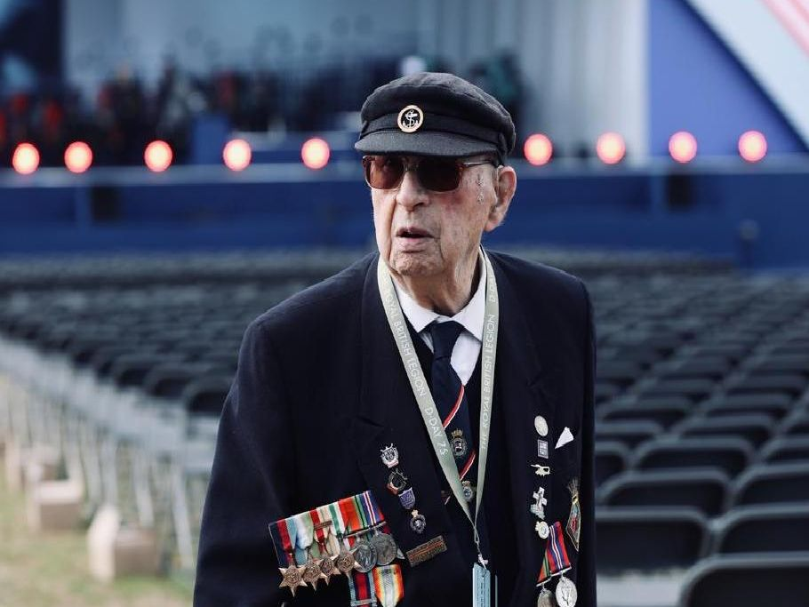 D-Day 75 in Portsmouth. Veteran at ceremony site