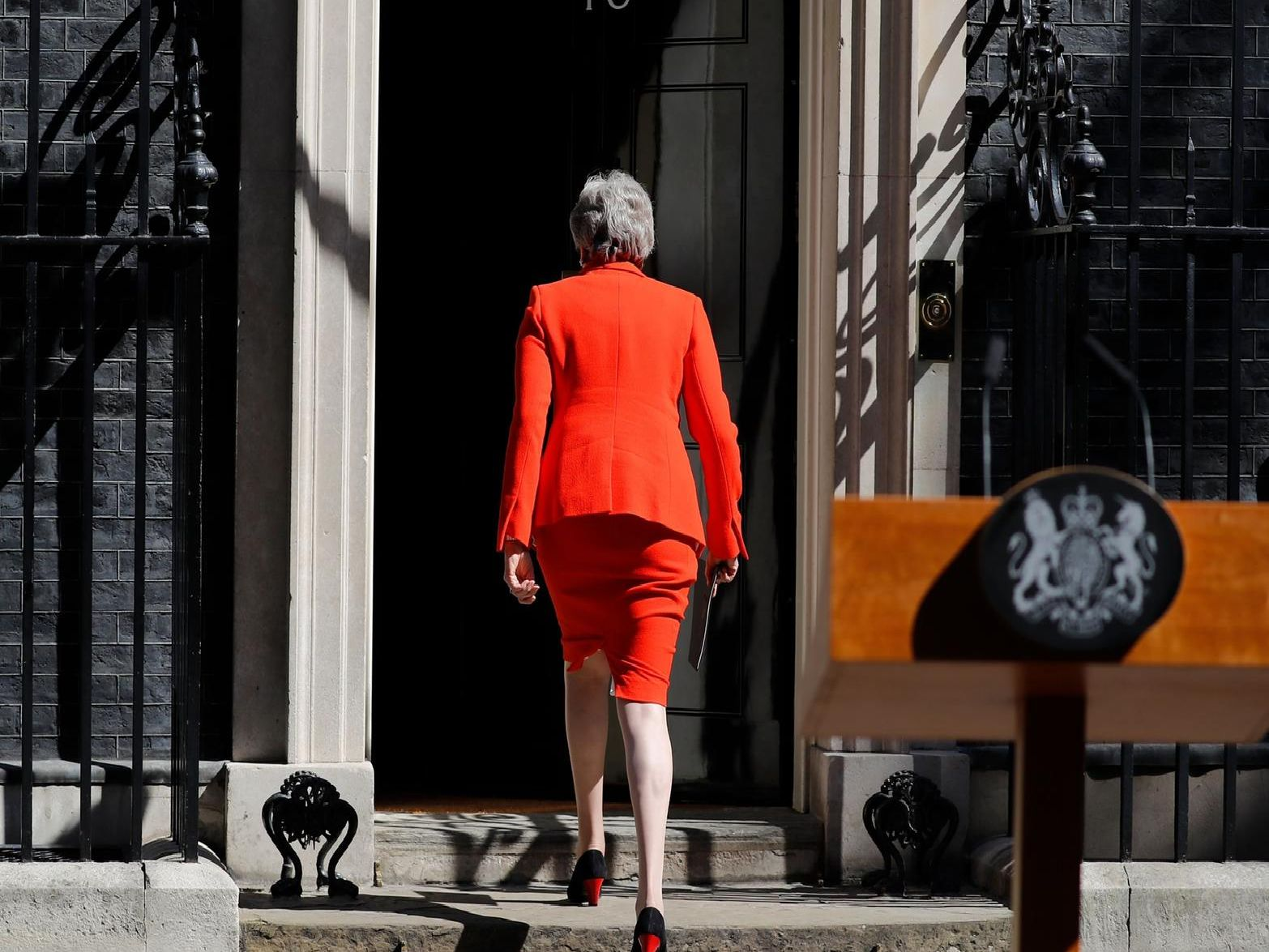 Prime minister Theresa May announcing her resignation outside 10 Downing Street. Picture: Tolga Akmen /AFP/ Getty Images