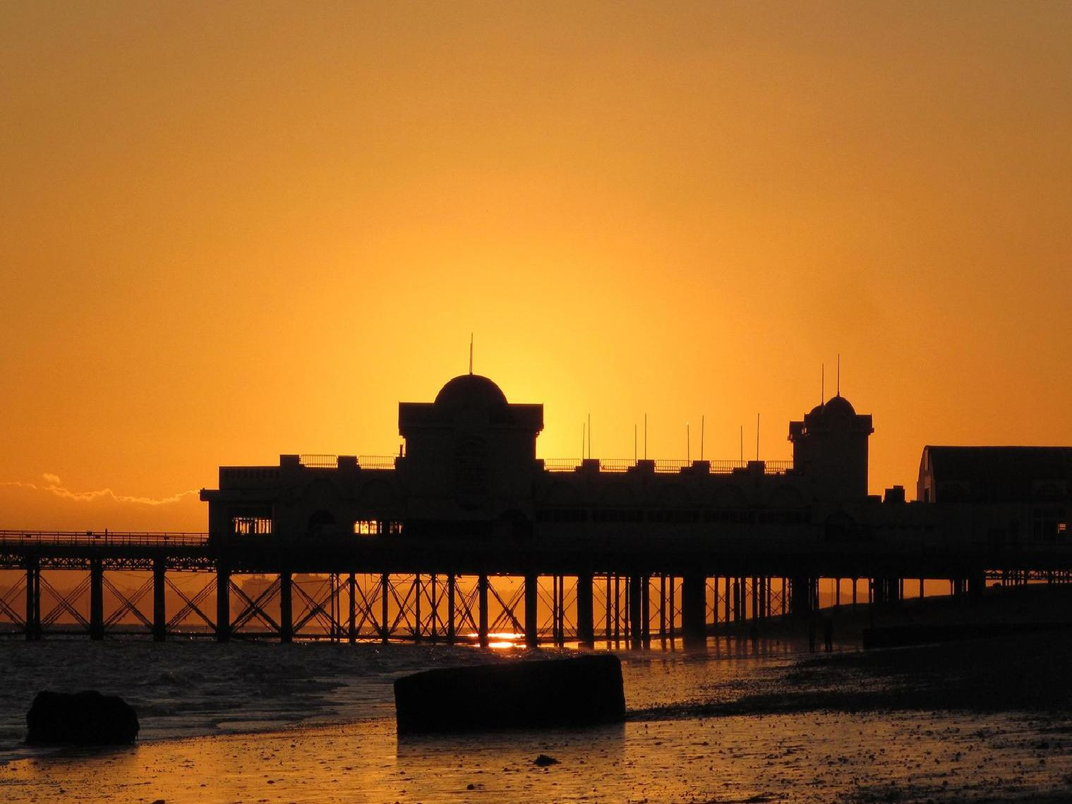 Southsea seafront along the beach, showing South Parade Pier at sunset. Picture: Andy Hanlon.