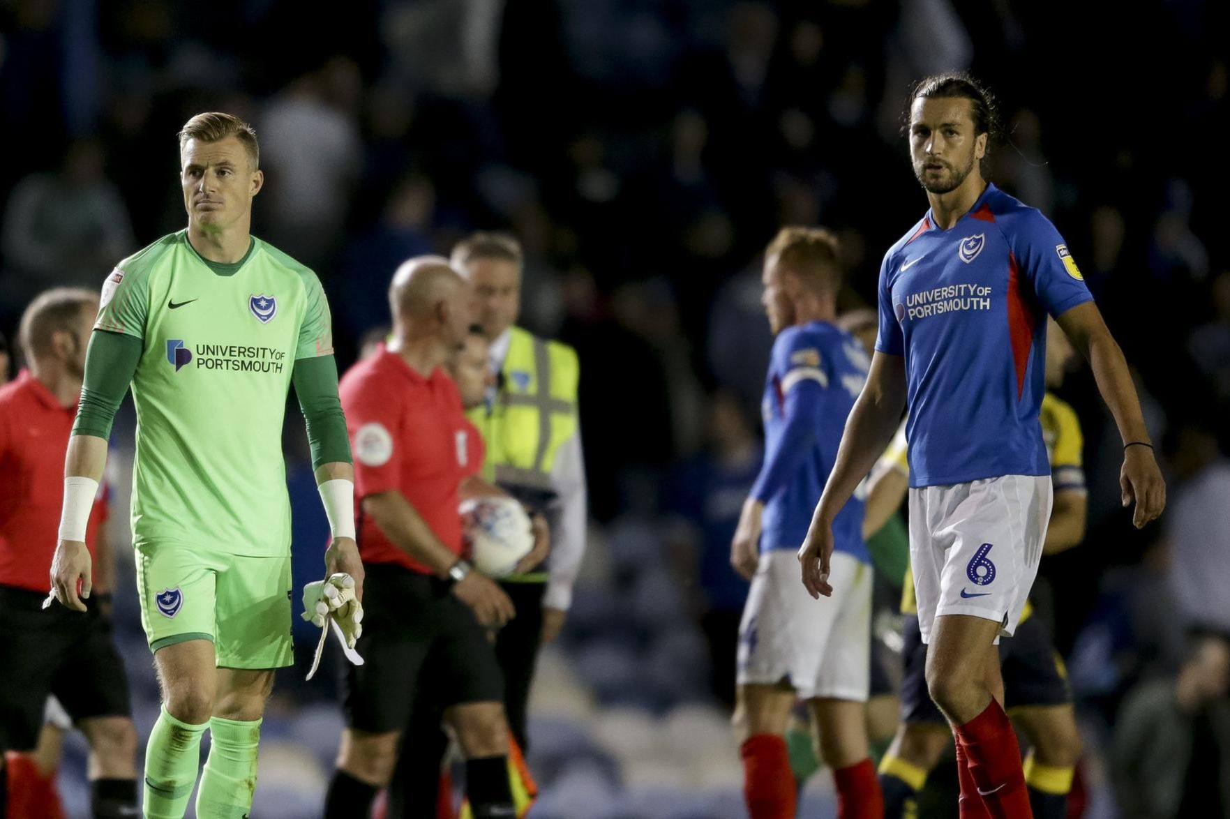 Craig MacGillivray and Christian Burgess dejected after Pompey's draw with Coventry. Picture: Robin Jones.
