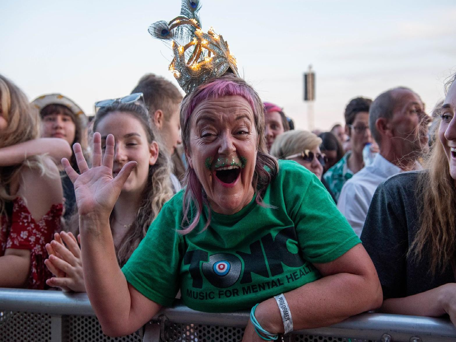 A very glittery crowd enjoying The Specials on the Common Stage. Picture: (230819-072)
