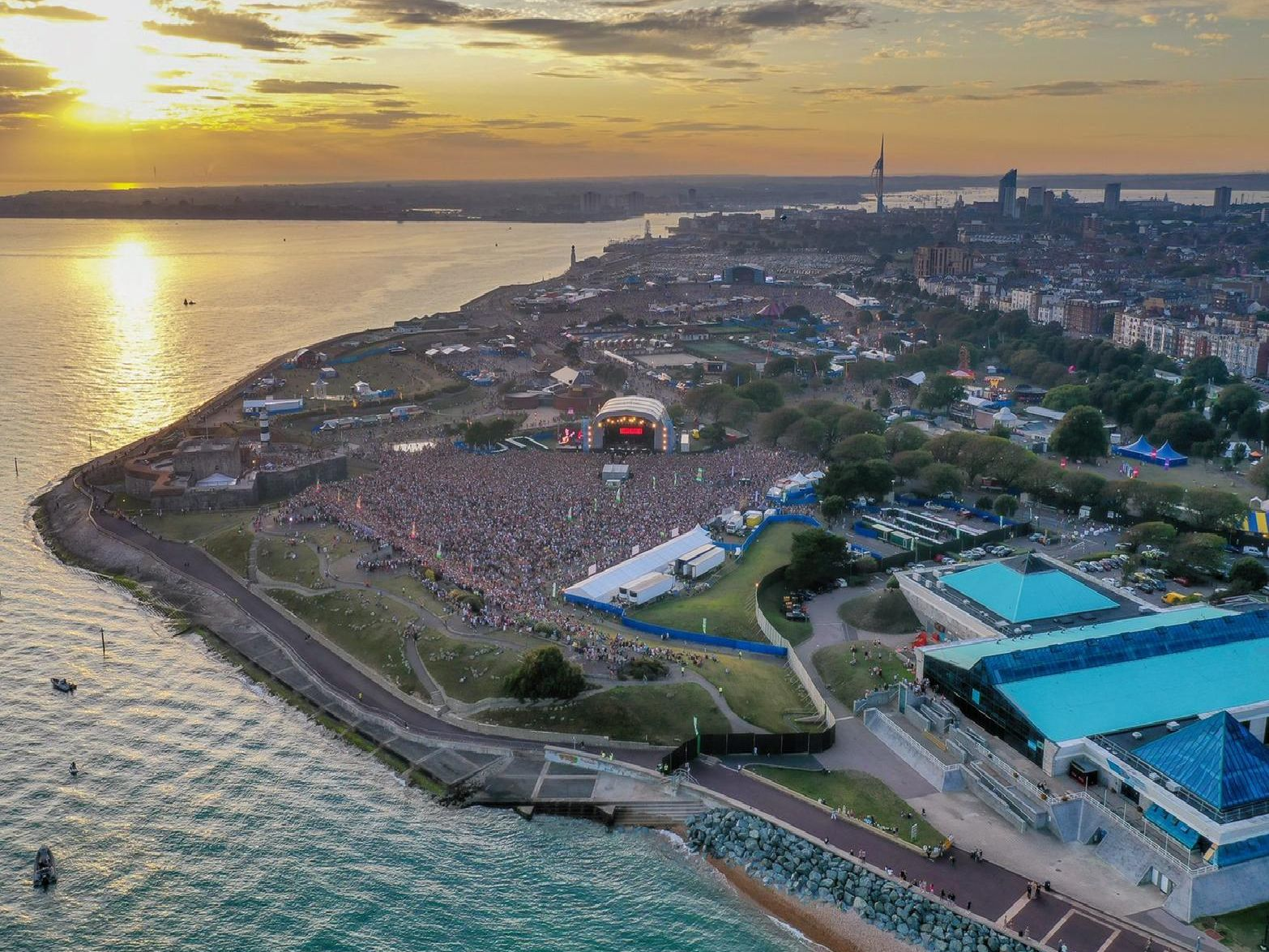 Drone photo of Victorious Festival crowds on Day 2 taken by Shaun Roster