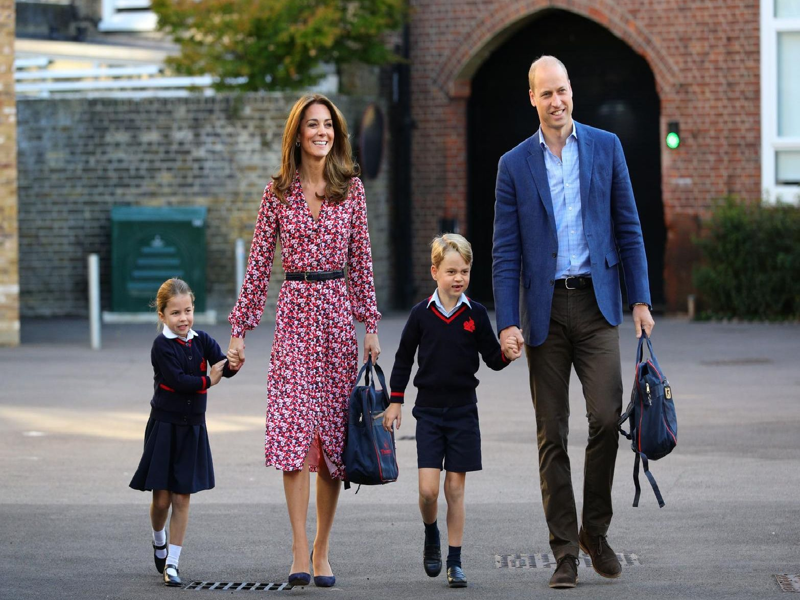 Princess Charlotte arrives for her first day of school. Picture: Aaron Chown/PA Wire