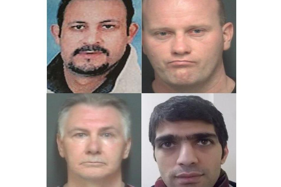 Hampshire's Crimestoppers Most Wanted 'Clockwise from top left Abbas Galhal El Nobie Ahmed, Mark Johnson, Mohammad Goortani, and Michael Pye