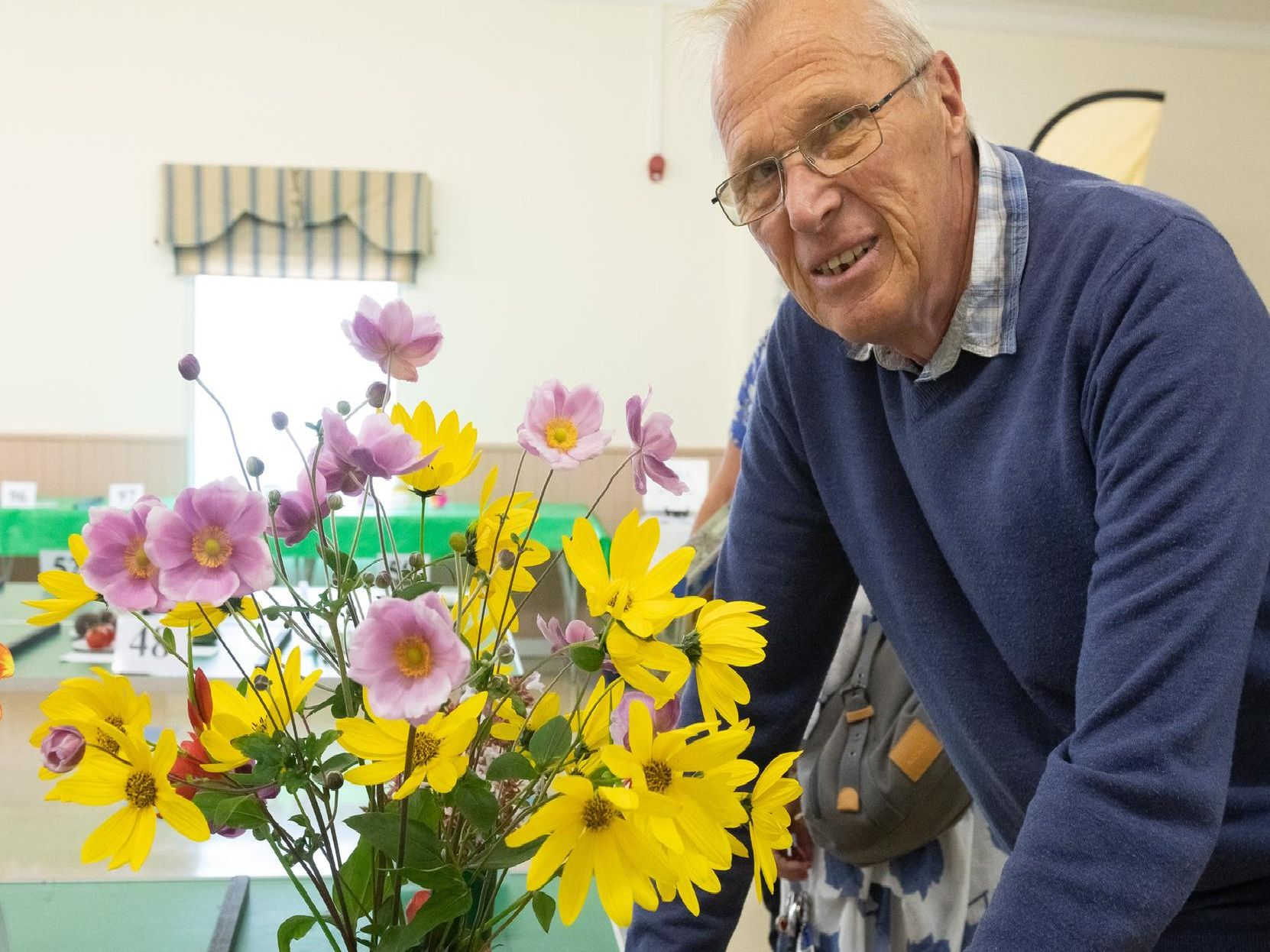 Brian Davies with his winning flowers Picture: Keith Woodland (070919-3)