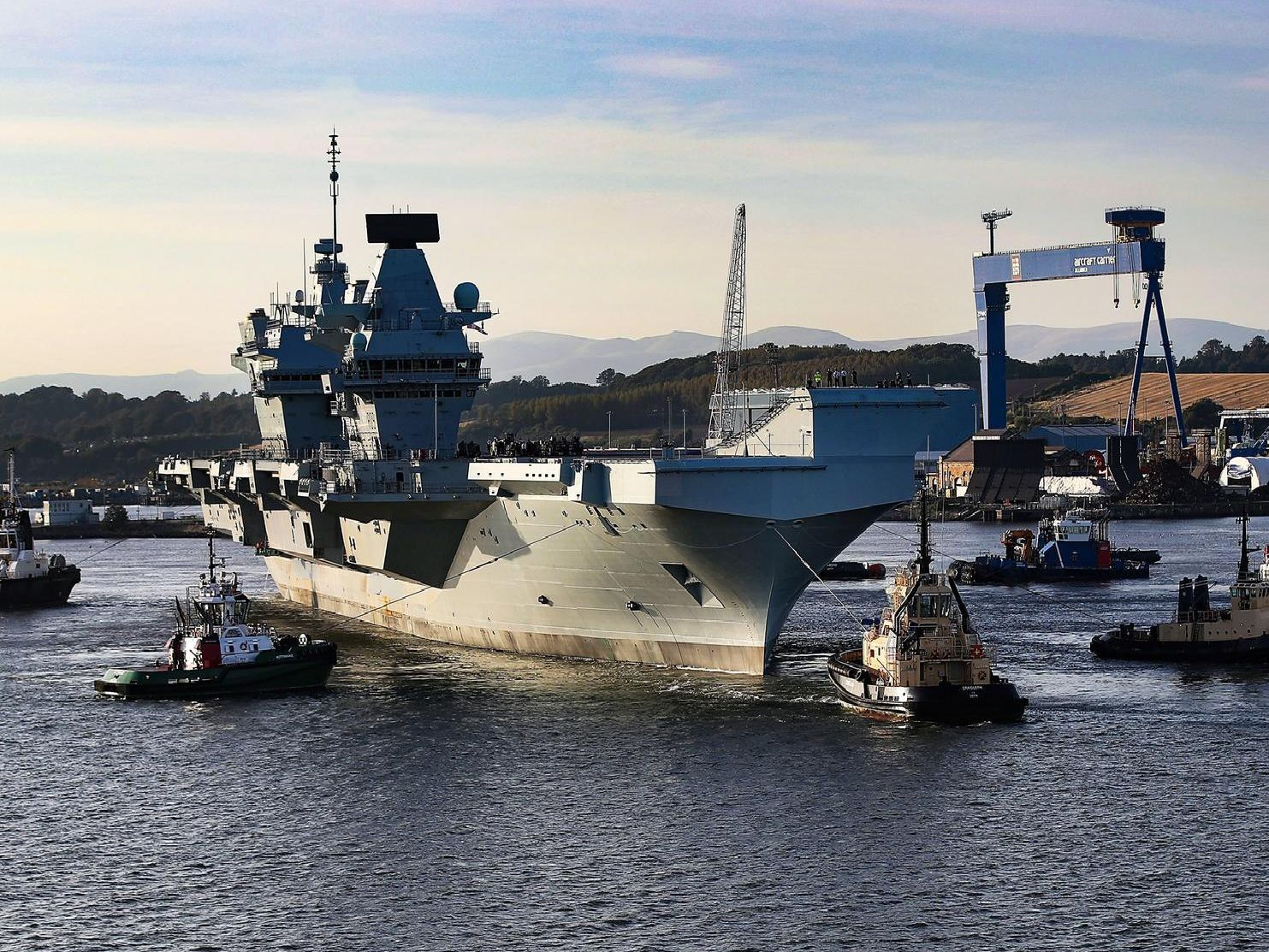 HMS Prince of Wales leaves her birthplace Rosyth, Scotland. She will sail to anchor where she will conduct contractor trials until she sails to her homeport of Portsmouth.