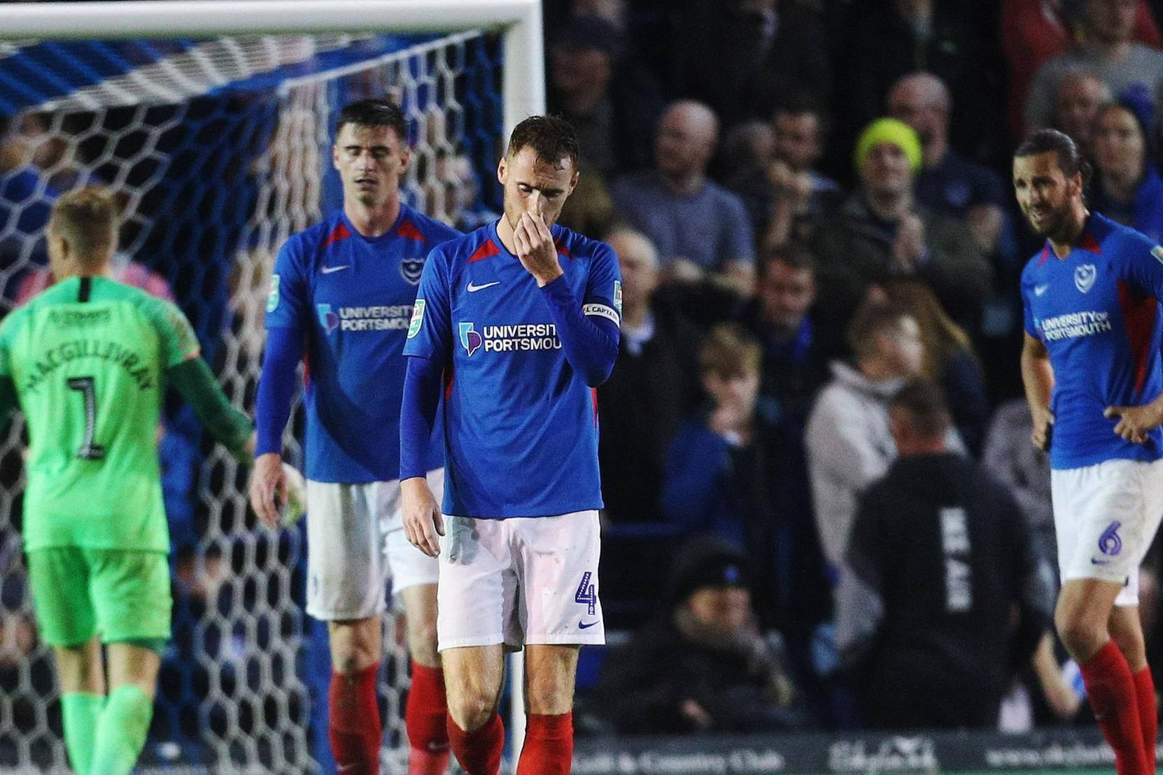 Pompey players are downbeat after conceding against arch-rivals Southampton