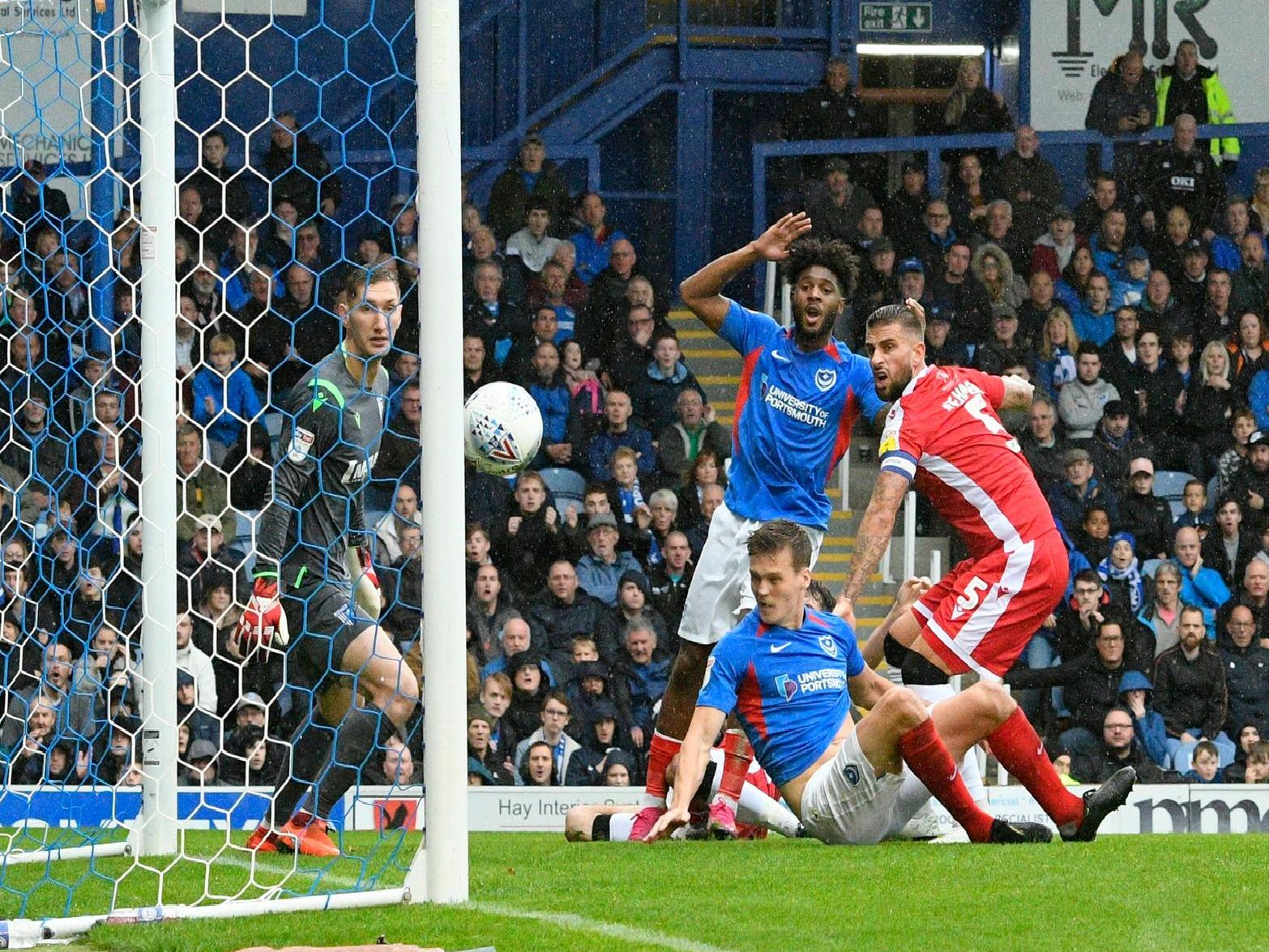Pompey's agony as Sean Raggett's attempt on goal hits the post