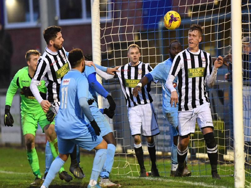 Rugby Town's first goal was adjudged to have just crossed the line. Pictures by Martin Pulley