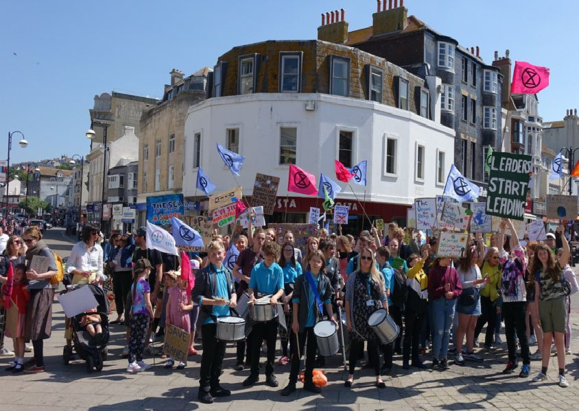School children march for action on the climate emergency. Picture: Chris Broughton