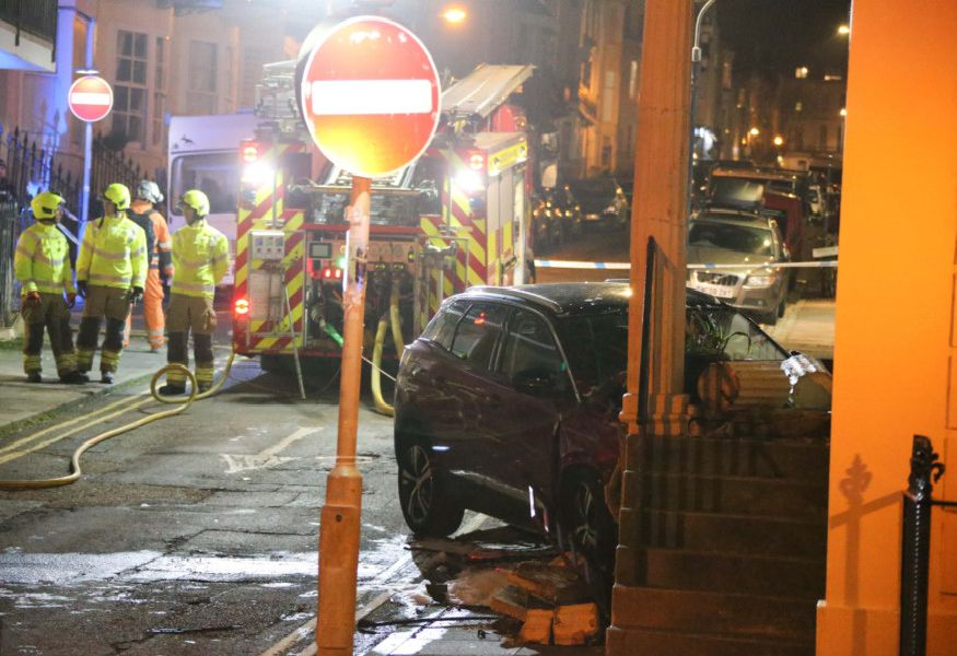 A car collided with a building in Bedford Place, Brighton SUS-200215-131527001