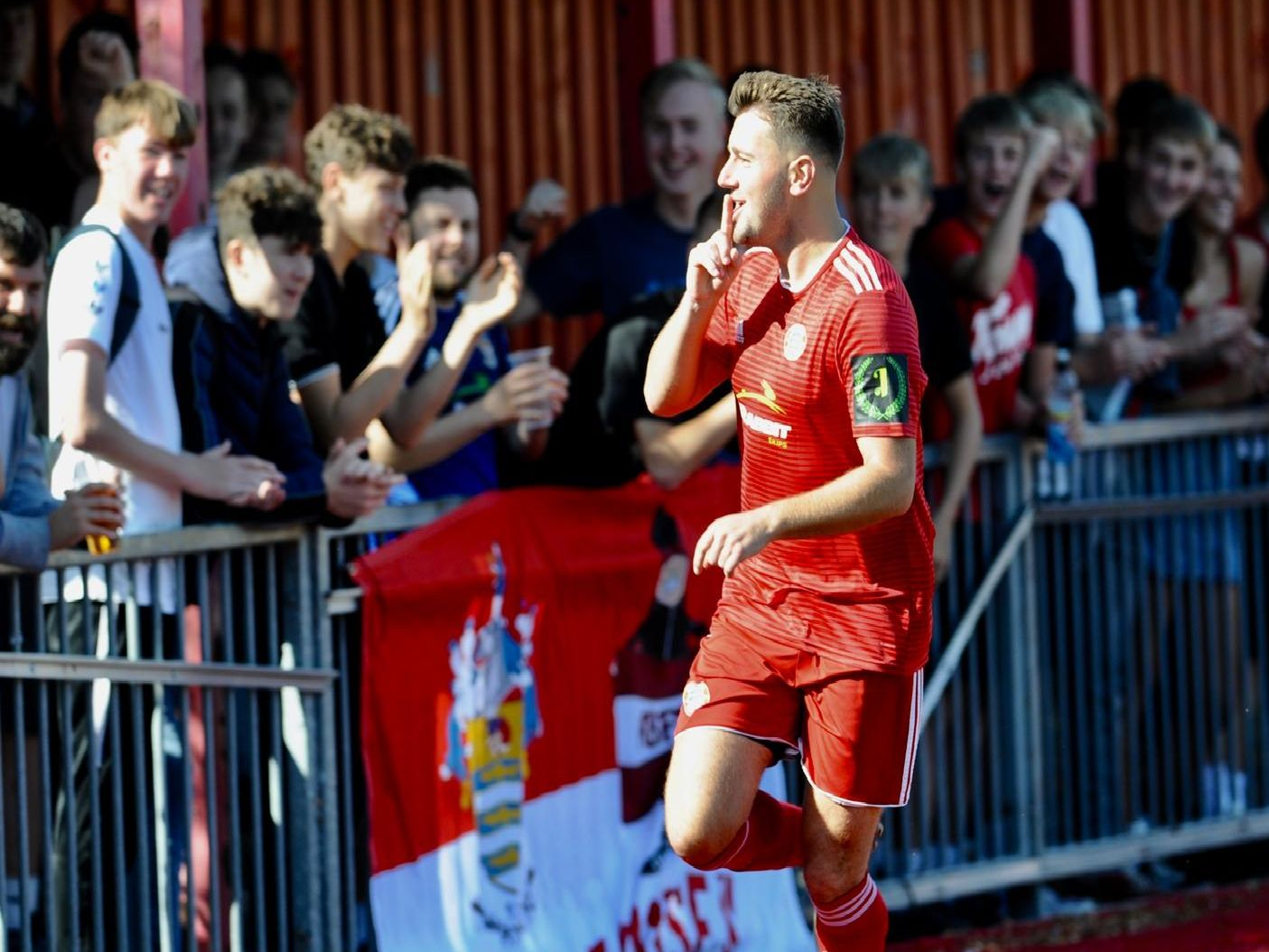 Ollie Pearce celebrates his first goal