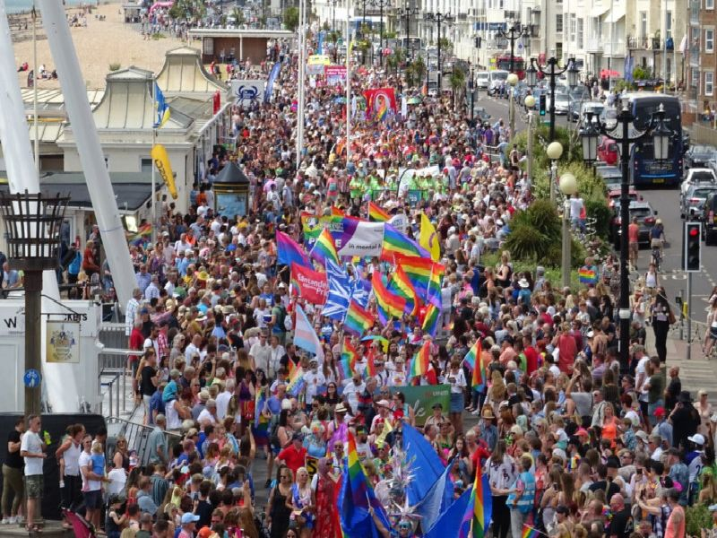 Thousands of people packed Worthing promenade for Worthing Pride 2019. Picture: Eddie Mitchell SUS-190715-122054001