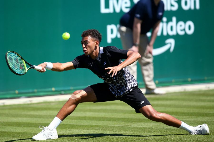 EASTBOURNE, ENGLAND - JUNE 22: Paul Jubb of Great Britain in action during his mens singles qualification match against Denis Istomin of Uzbekistan during qualifying for the Nature Valley International at Devonshire Park on June 22, 2019 in Eastbourne, United Kingdom. (Photo by Charlie Crowhurst/Getty Images for LTA) *** Local Caption *** Paul Jubb SUS-190622-195822002