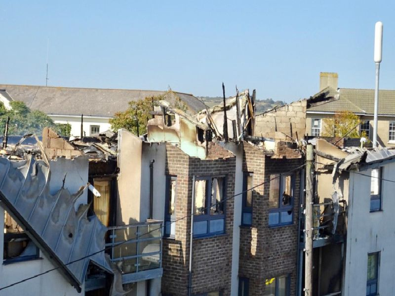 The aftermath of the flat fire in Pankhurst Avenue, Brighton