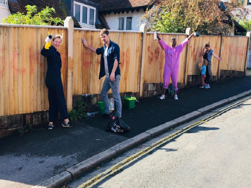 Lewes residents scrubbing off the graffiti on Saturday
