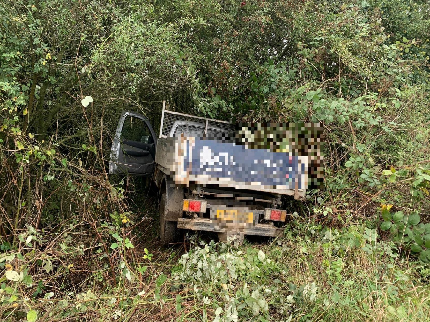 The van left the road and ended up in the bushes