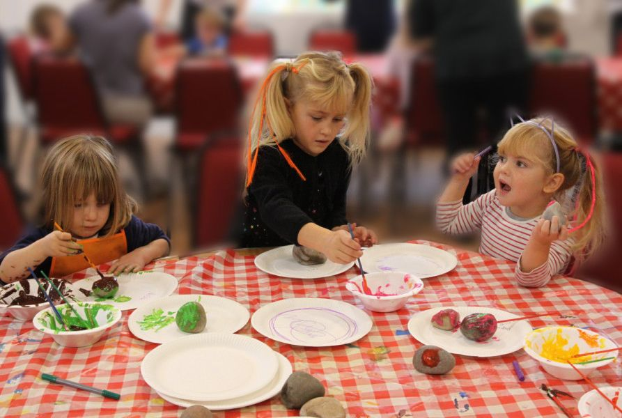 Children getting creative at messy harvest