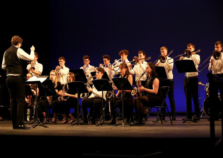 The Lewes Youth Band, accompanied by soloist Khaya Burke who has recorded Elvis Presley's Love Me Tender with Guy Fletcher of Dire Straits. Photograph: 'Photograph: Sam Stephenson/ Homelink