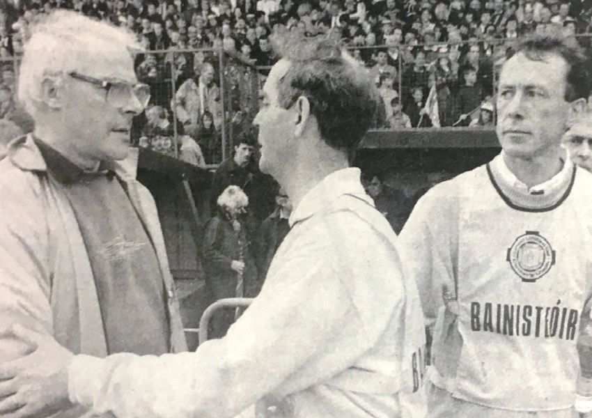 Donegal Manager Brian McEniff congratulates his Tyrone counterparts Art McRory, and Eugene McKenna after the gane in 1994.