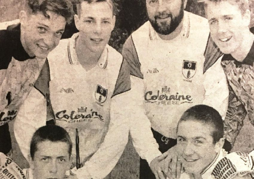 Terry Bonnar and the local players who represented Tyrone in the big youth soccer tournament in 1994.