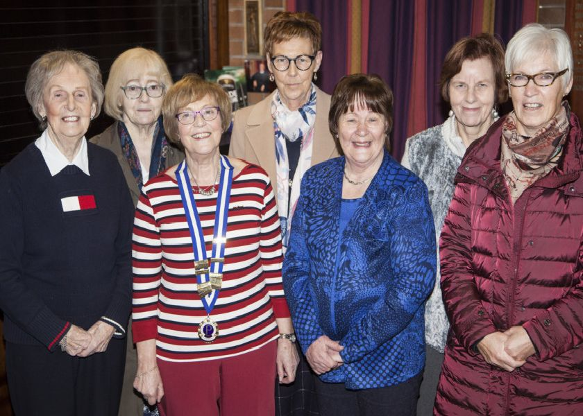 The new committee members from left Nancy Lancaster, Loretta Bullock, President Rae Gallagher, Janice Buchanan, Pam Duff, Christine Sutton and Val Williamson.