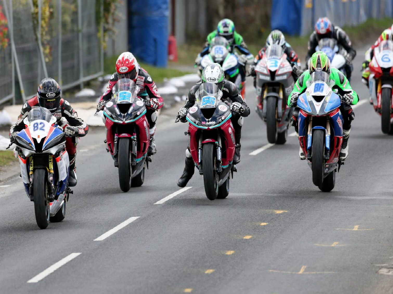 The start of the Supersport race at the Cookstown 100 in 2018.