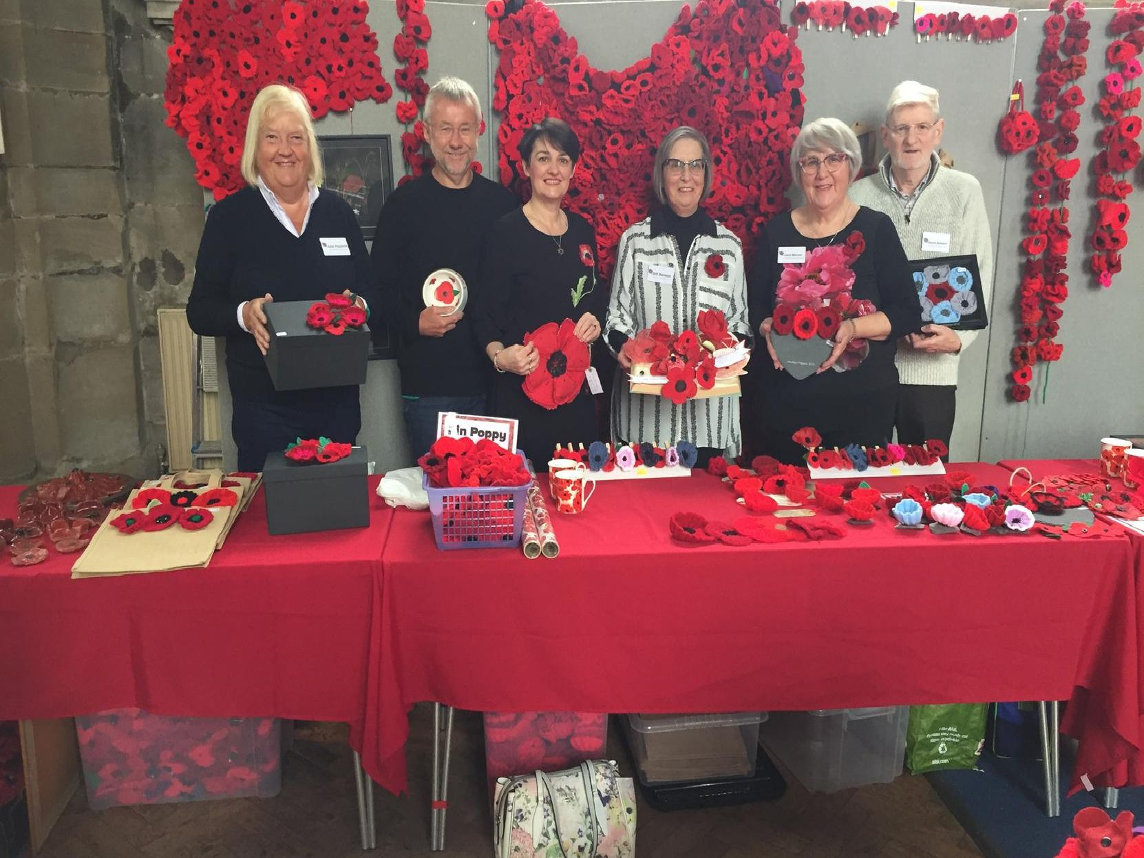 Members of the Warwick Poppies 2018 project at the 'poppy sale'.