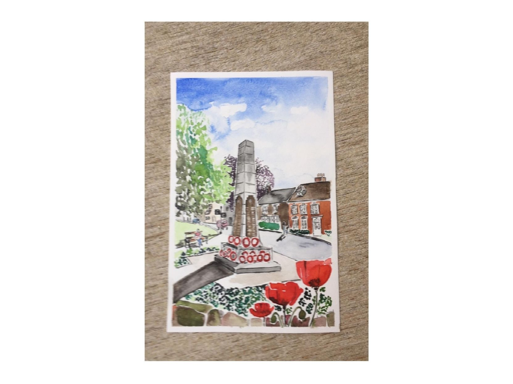Painting of the Kenilworth War Memorial at Abbey Hill