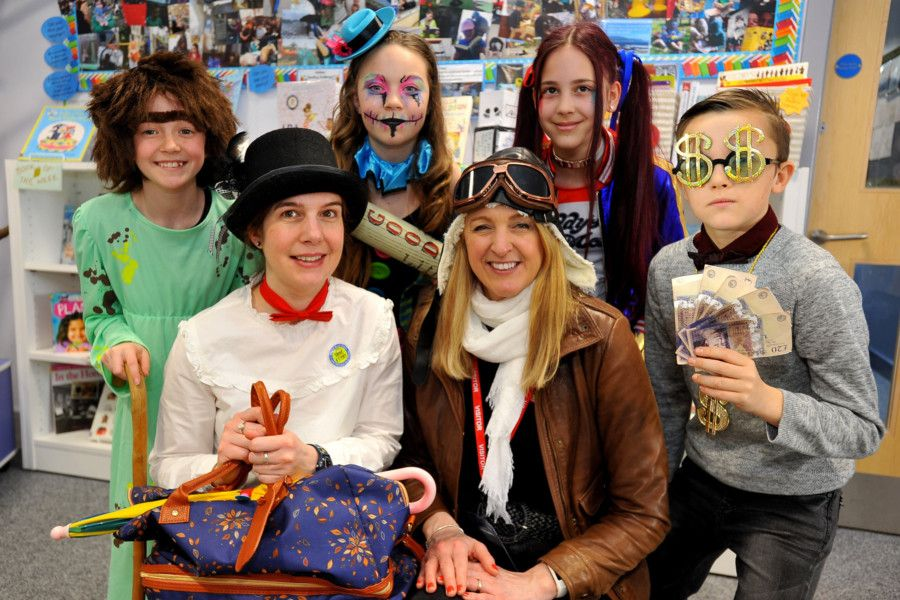World Book Day at Glebe Primary School. With  Kate Gieler (librarian) and Vashti Hardy best selling author, and Patron of Reading at the Glebe. Pic Steve Robards SR1906288 SUS-190803-164237001