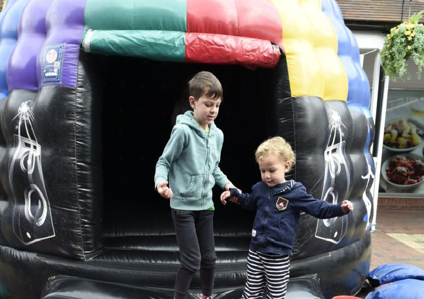 Orchards shopping centre fun day.''Fun day at the Orchards shopping Centre to raise money for local children and charity's.''Pictured are L-R Archie Guy (5) and Stanley Guy (2) on the bouncy castle.''Picture: Liz Pearce''18/05/2018''LP190251 SUS-190520-091745008 SUS-190520-091745008