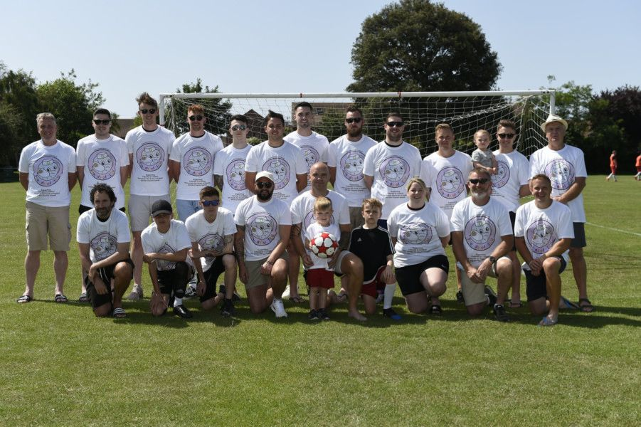 Charity Football for Friends of PICU''Charity football match for Friends of PICU ( Paediatric Intensive Care Unit) at Southampton Children's Hospital.''Oscar Woodward (3) had heart failure of 4 weeks and was rushed to the PICU at Southampton. The family are holding a charity football match to raise money for the unit.''Pictured are the players of the charity match.''Rustington, West Sussex,''  'Picture: Liz Pearce''29/06/2019''LP190641 SUS-190630-214757008